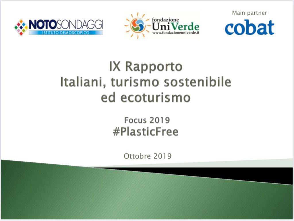 cover bianca e verde IV Rapporto Italiani, turismo sostenibile ed ecoturismo 2019